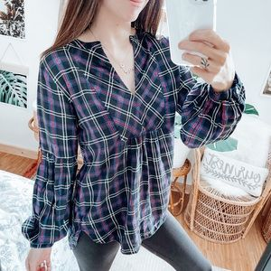 Ann Taylor LOFT Plaid V-Neck Blouse